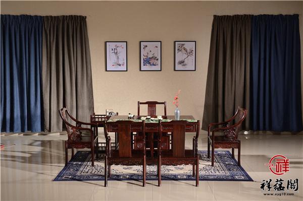 红木大板茶桌