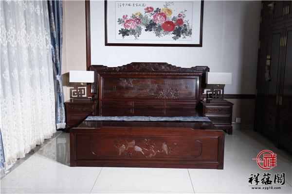 百千寒雀红木大床价格及百千寒雀大床图片欣赏