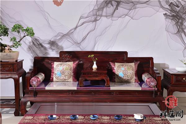 红木沙发1+2+3组合七件套尺寸及图片欣赏