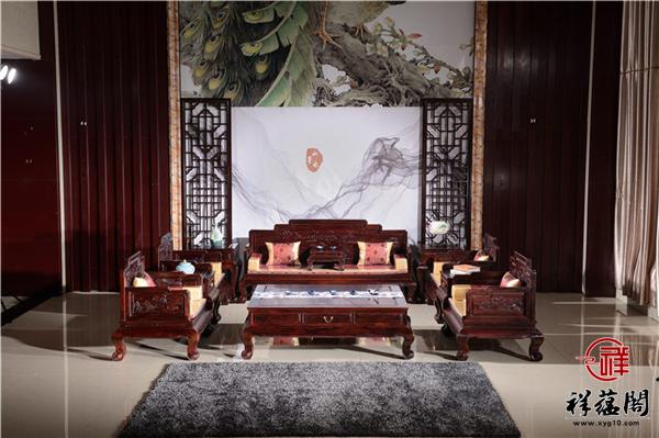 红木沙发123组合七件套尺及图片欣赏