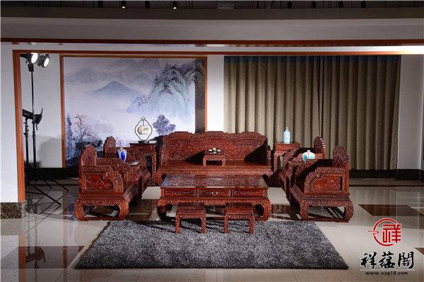 U型红木沙发十一件套组合价格及尺寸图片