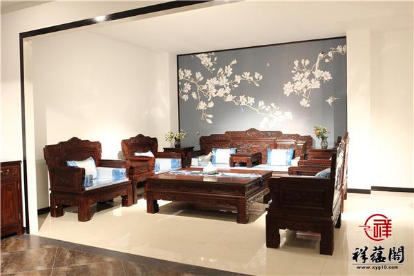 巴里黄檀红木沙发七件套尺寸 巴里黄檀沙发七件套图片欣赏