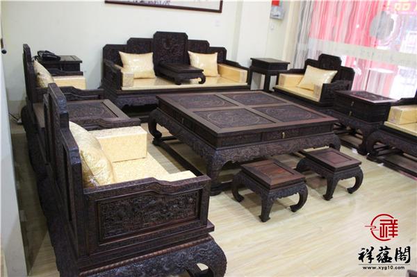 黑酸枝的十一件套红木沙发尺寸价格及图片欣赏