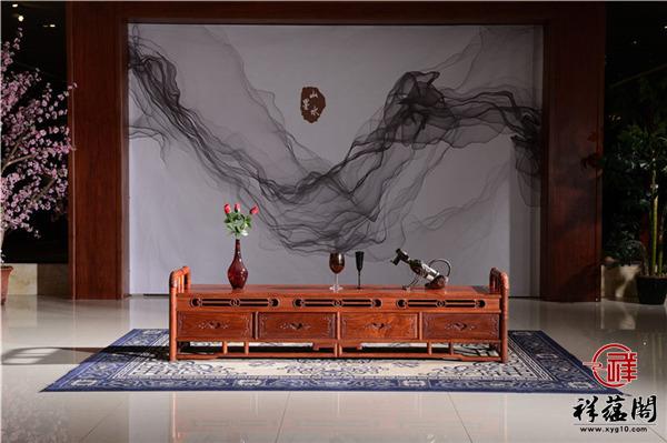 缅甸花梨2.4米红木电视柜价格及2.4米红木电视柜图片欣赏