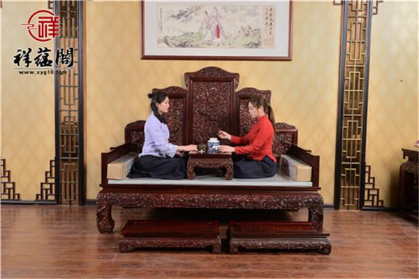 老挝红酸枝红木罗汉床三件套尺寸 老挝红酸枝罗汉床三件图片欣赏