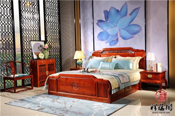 缅甸花梨木1米8的红木双人床价格及图片欣赏