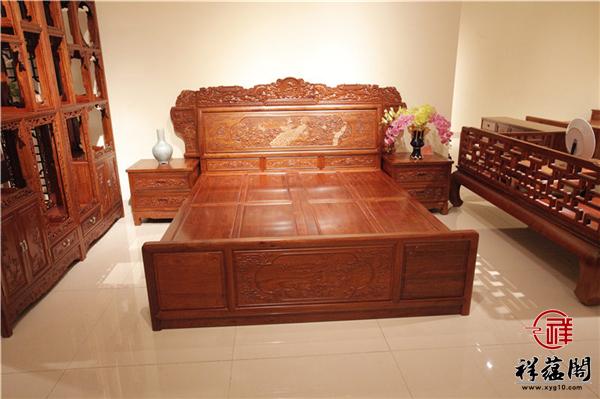 印尼黑酸枝的1.8米红木双人床价格及图片欣赏