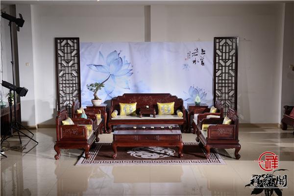 老挝红酸枝红木沙发七件套尺寸 老挝红酸枝沙发七件套图片欣赏