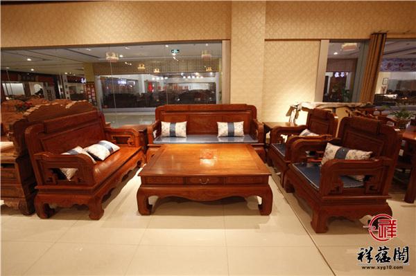 缅甸花梨七件套红木沙发尺寸 缅甸花梨七件套沙发图片欣赏