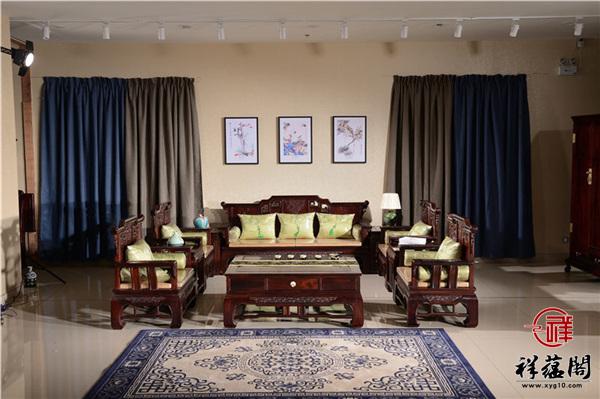 印尼黑酸枝红木沙发十九件套组合尺寸价格及图片欣赏