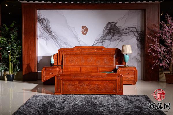 缅甸花梨木的红木双人床三件套尺寸价格及图片欣赏
