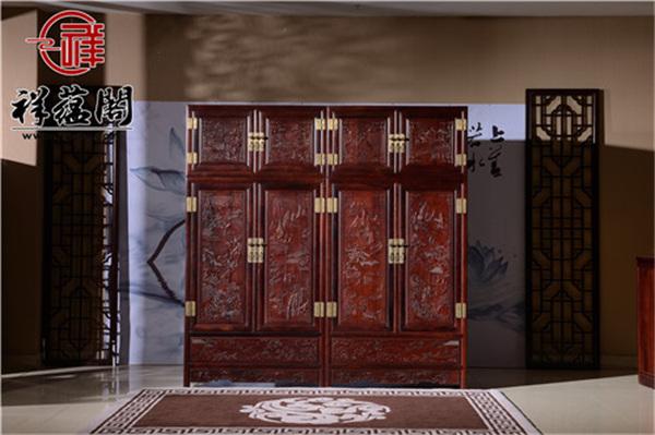 红酸枝四门红木顶箱柜价格及图片欣赏