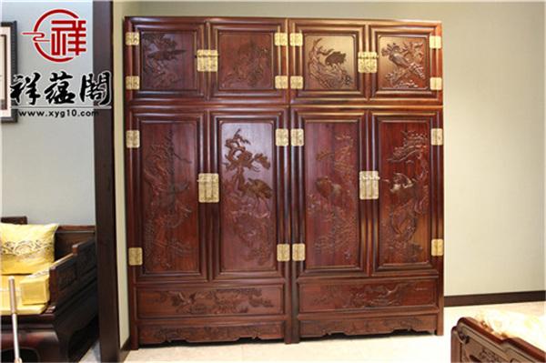 老挝红酸枝的四门红木顶箱柜价格及图片欣赏