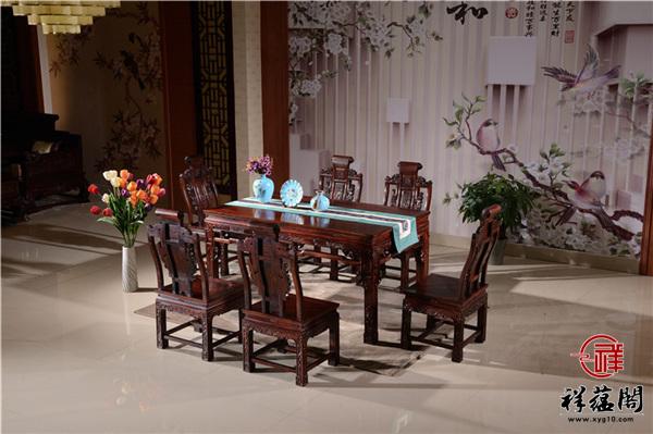 印尼黑酸枝的2米8宽红木餐桌价格及图片欣赏