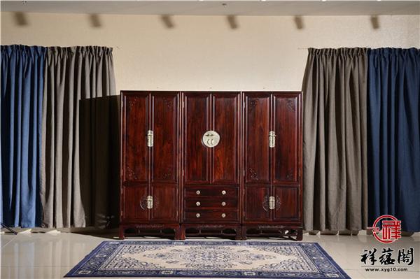 印尼黑酸枝三门红木顶箱柜尺寸 印尼黑酸枝三门顶箱柜图片欣赏