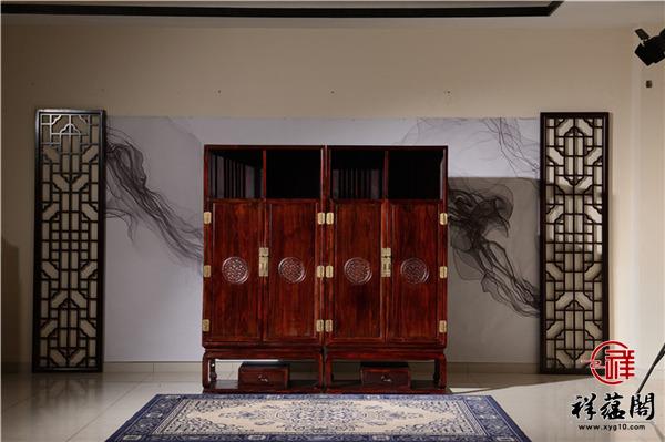 印尼黑酸枝四门红木顶箱柜尺寸 印尼黑酸枝四门顶箱柜图片欣赏